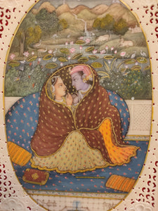 Krishna Radha Romance Hindu God Painting Artwork