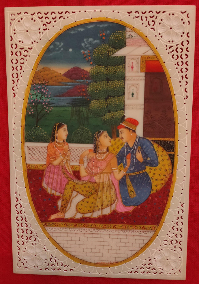 Mughal Artwork Synthetic Ivory Painting