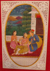 Hand Painted Mughal Maharajah Love Scene Miniature Painting India Artwork - ArtUdaipur