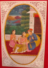 Load image into Gallery viewer, Hand Painted Mughal Maharajah Love Scene Miniature Painting India Artwork - ArtUdaipur