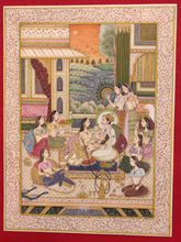 Load image into Gallery viewer, Hand Painted Mughal Love Scene Miniature Painting India Artwork Hookah - ArtUdaipur