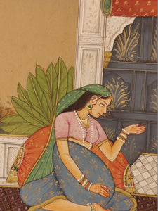 Handmade Indian Miniature Ragini Painting Paper Colors Art Traditional Exquisite - ArtUdaipur