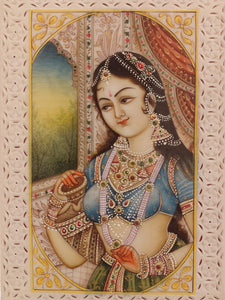 Handmade Indian Miniature Ragini Painting Synthetic Ivory Colors Traditional - ArtUdaipur
