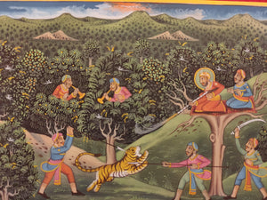 Hand Painted Mughal Hunting Scene Tiger Miniature Painting India Artwork - ArtUdaipur