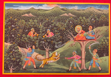 Load image into Gallery viewer, Hand Painted Mughal Hunting Scene Tiger Miniature Painting India Artwork - ArtUdaipur