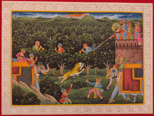 Animal Hunting Battle Scene Painting Military Art with Meaning - ArtUdaipur