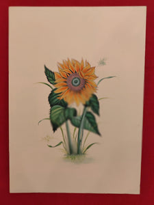 Handmade Indian Miniature Flower Paint Hard Paper Art Work Exquisite Sunflower - ArtUdaipur