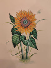 Load image into Gallery viewer, Handmade Indian Miniature Flower Paint Hard Paper Art Work Exquisite Sunflower - ArtUdaipur