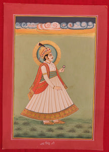 Hand Painted Rajasthani Maharajah King Portrait Miniature Painting India Mewar - ArtUdaipur
