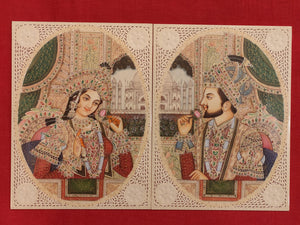 Hand Painted Mughal Shah Jahan and Mumtaz Miniature Painting India Paper Artwork - ArtUdaipur