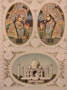 Shah Jahan and Mumtaz Taj Mahal Painting Art