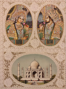 Hand Painted Mughal Shah Jahan and Mumtaz Miniature Painting India Artwork - ArtUdaipur