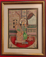 Load image into Gallery viewer, Hand Painted Shah Jahan and Mumtaz Miniature Painting India Framed Artwork - ArtUdaipur