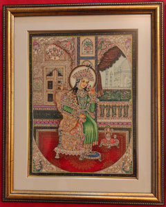Hand Painted Shah Jahan and Mumtaz Miniature Painting India Framed Artwork - ArtUdaipur