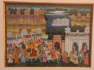 Rare Indian Framed Maharaja Blue Color Scheme Rajasthani Procession Detailed Miniature Painting Fine Art Exquisite Artwork Udaipur City - ArtUdaipur
