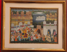 Load image into Gallery viewer, Rare Indian Framed Maharaja Blue Color Scheme Rajasthani Procession Detailed Miniature Painting Fine Art Exquisite Artwork Udaipur City - ArtUdaipur