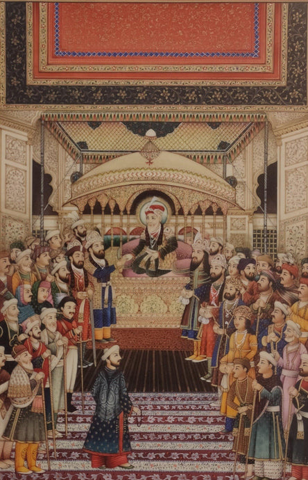 Mughal Painting Court Scene Artwork Painting