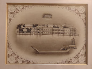 Hand Painted Udaipur City Rajasthani Lake Palace Miniature Painting Scene Artwork Framed Frame Fine Art - ArtUdaipur