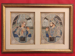 Hand Painted Shah Jahan and Mumtaz Mughal Moghul Miniature Painting India Artwork Framed Frame Fine Artwork - ArtUdaipur