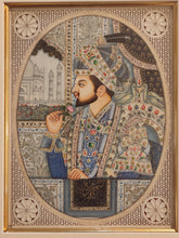 Load image into Gallery viewer, Hand Painted Shah Jahan and Mumtaz Mughal Moghul Miniature Painting India Artwork Framed Frame Fine Artwork - ArtUdaipur