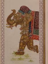 Load image into Gallery viewer, Hand Painted Elephant GoodLuck Miniature Painting India Artwork Animal Frame Framed Fine Art - ArtUdaipur