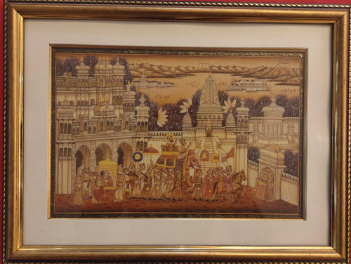 Udaipur City Rajasthani Framed Painting Artwork
