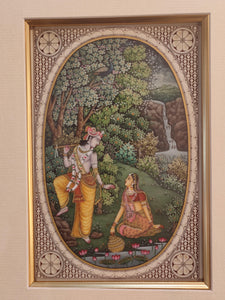 Hand Painted Krishna Radha Hindu God and Goddess Miniature Painting India Art Framed Fine Art - ArtUdaipur
