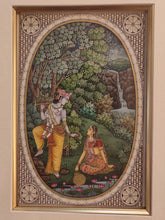 Load image into Gallery viewer, Hand Painted Krishna Radha Hindu God and Goddess Miniature Painting India Art Framed Fine Art - ArtUdaipur