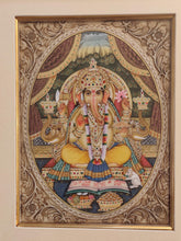 Load image into Gallery viewer, Hand Painted Ganesh Ganesha Hindu God Miniature Painting India Artwork Framed Fine Art Frame - ArtUdaipur