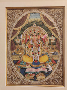 Hand Painted Ganesh Ganesha Hindu God Miniature Painting India Artwork Framed Fine Art Frame - ArtUdaipur