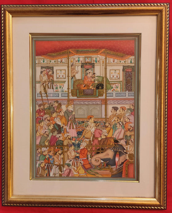 Mughal Court Scene Framed Painting Art Home Decor