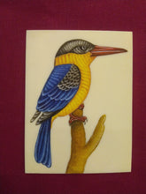 Load image into Gallery viewer, HandPainted KingFisher Bird Miniature Painting on Synthetic Ivory - ArtUdaipur