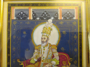 Hand Painted Mughal Mogul Bahadur Shah Zafar Detailed Miniature Painting Home Decor - ArtUdaipur