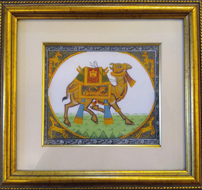Camel Miniature Painting Framed Home Decor