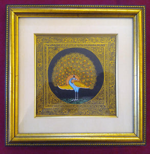 Beautiful Peacock Bird on Silk Framed Indian Miniature Painting - ArtUdaipur