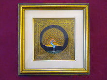 Load image into Gallery viewer, Beautiful Peacock Bird on Silk Framed Indian Miniature Painting - ArtUdaipur