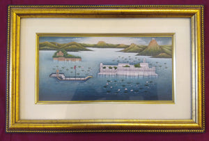 Hand Painted Lake Palace Detail History Miniature Painting India Framed Artwork - ArtUdaipur