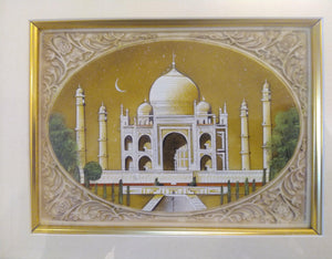 Hand Painted Taj Mahal Monument History Miniature Painting India Framed Artwork Mughal - ArtUdaipur