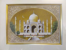 Load image into Gallery viewer, Hand Painted Taj Mahal Monument History Miniature Painting India Framed Artwork Mughal - ArtUdaipur