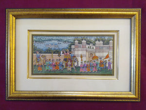 Hand Painted Synthetic Ivory Procession Rare Miniature Painting India Artwork Framed - ArtUdaipur