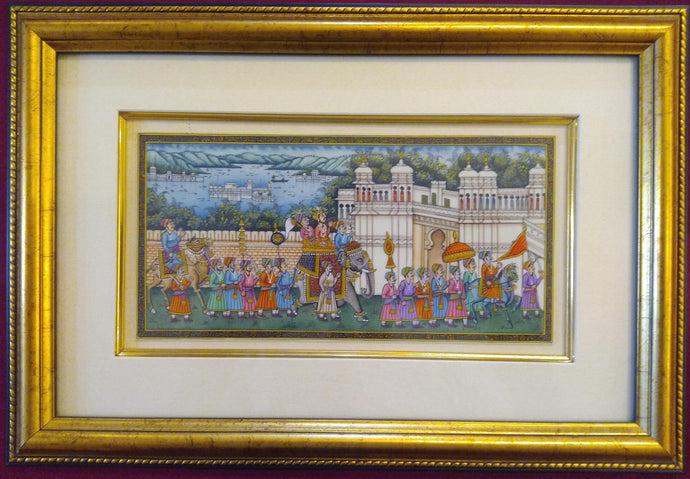 Framed Udaipur City Procession Painting