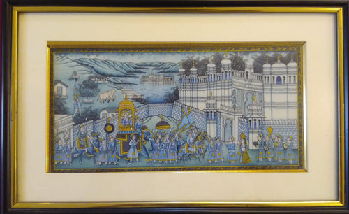 Udaipur City Procession Painting Framed