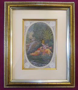 Painting For Home Wall Original Krishna Radha Framed Miniature - ArtUdaipur