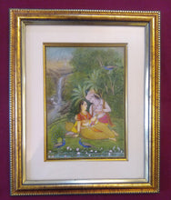 Load image into Gallery viewer, Art for Home Framed Painting Indian Miniature Original Krishna Radha - ArtUdaipur