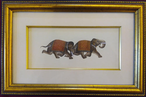 Elephant Paper Painting Framed