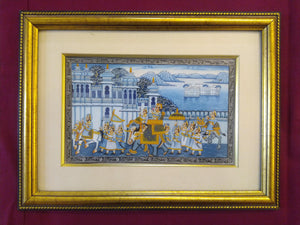 Hand Painted Miniature Painting India Procession Artwork Maharajah King Framed Fine Art - ArtUdaipur
