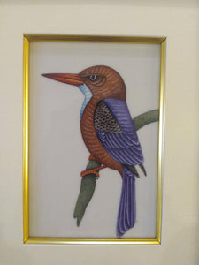 Exotic Framed KingFisher Bird Indian Miniature Painting Gold - ArtUdaipur
