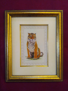 Hand Painted Tiger Decor Rare Detailed Miniature Painting India Art Animals - ArtUdaipur