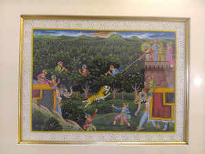 Framed Animal Hunting Battle Scene Painting with Deep Meaning India - ArtUdaipur