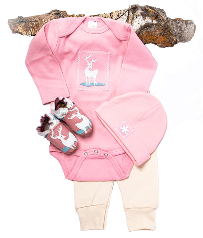 Deer Me! Gift Set (pink with matching shoes, onesie, pant, hat)